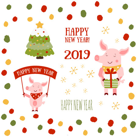 Vector illustration of cute pig with banner for New Year. Zodiac simbol of Chinese New Year 2019. Cute cartoon pig useful for invitations, scrapbook, Christmas card, poster, sticker, clip art. Ilustração