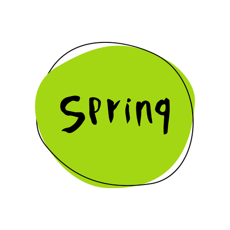 Vector illustration for spring. Useful for flyers, brochure, invitation, posters. Hand drawn letters for Spring. Elements for posters, greeting cards. Seasons Greetings.