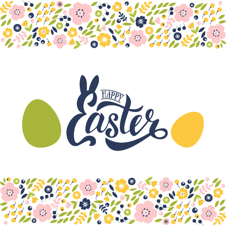 Vector illustration of Happy Easter text. Flat design spring banner of modern calligraphy style. Vector Easter poster background template