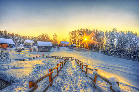 winter sunrise: Winter sunrise in the country Stock Photo
