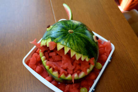 Watermelon carved as shark for a birthday party