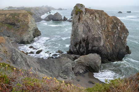 Rocky coast off CA 1 south of Rock Point Beach