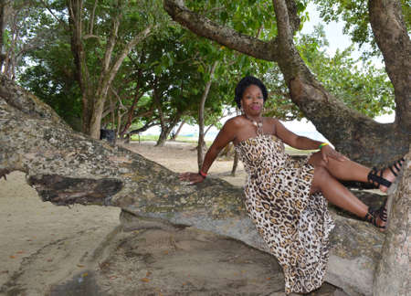 Sensuous woman in leopard print sitting a tree at the beach.