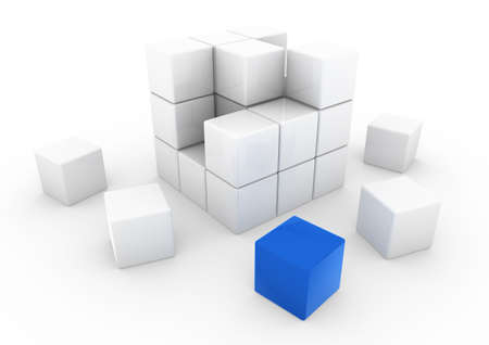 group solution: 3d blue white business cube isolated on white background