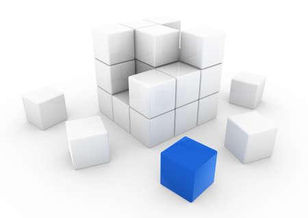 objetos cuadrados: 3D de negocio blanco azul de cubo, aislado en fondo blanco
