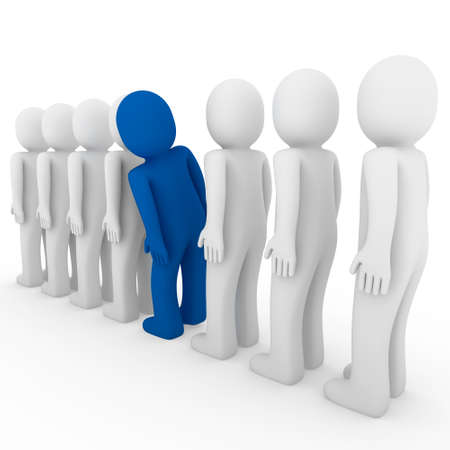 3d human stand crowd blue isolated white background photo