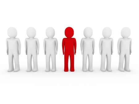 3d human stand crowd red isolated white background photo