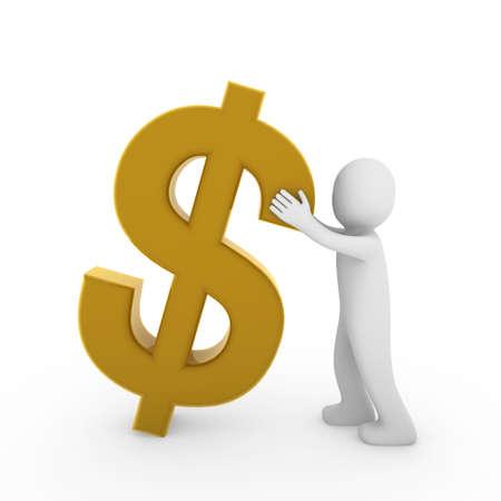 3d human dollar money gold yellow business finance Stock Photo - 8436953