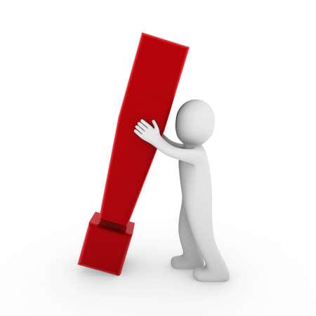 point exclamation: 3d exclamation humains symbole de marque d'entreprise rouge isol�