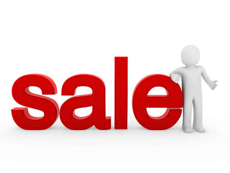 percentage: 3d human sale red symbol business buy isolated Stock Photo
