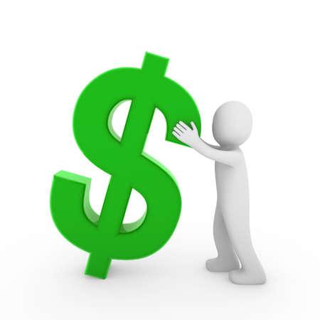 3d human dollar money gold green business finance Stock Photo - 8475944