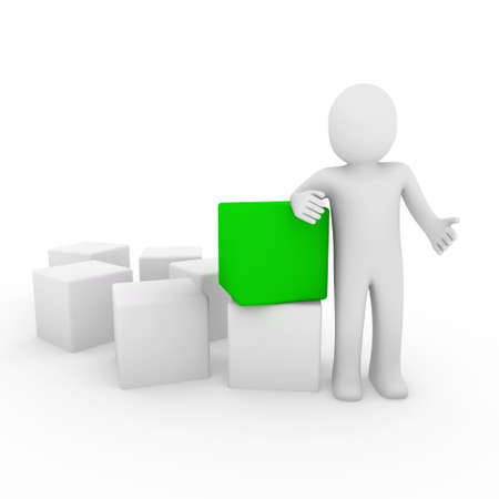 3d human cube box green white business photo