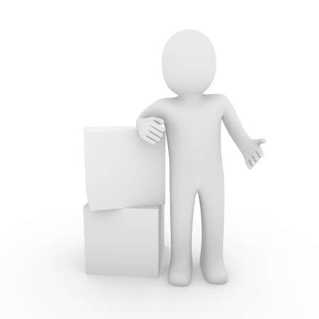 3d human cube box white business isolated Stock Photo - 8535328