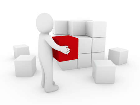 red cube: 3d human cube box red white success business isolated