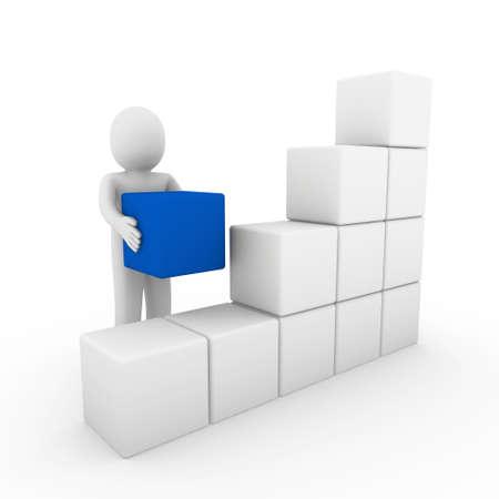 figuras abstractas: 3D cubo humana cuadro azul blanco �xito negocios aislados
