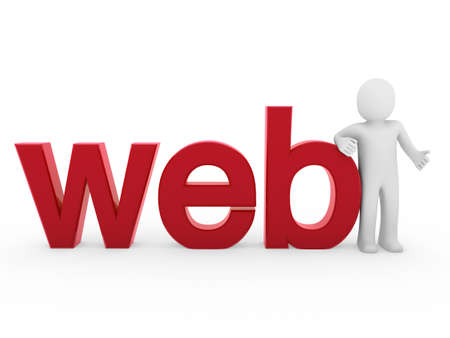 3d human web red internet white business man Stock Photo - 8556124