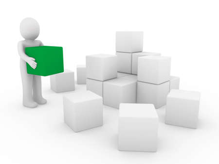 3d human cube box green white success business isolated Stock Photo - 8556131