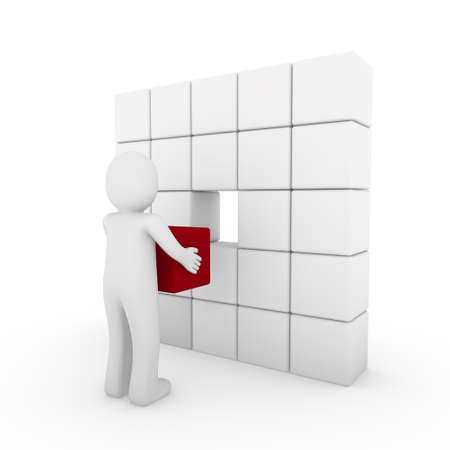 3d human cube red white success business people isolated  photo
