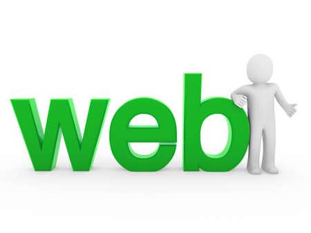 3d human web green internet white business man Stock Photo - 8556133