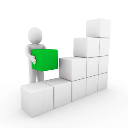 3d human cube box green white success business isolated photo