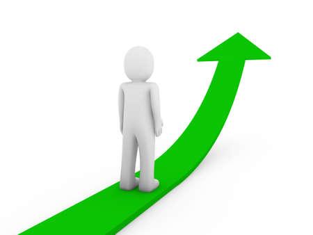 acute angle: 3d human green arrow growth success business isolated Stock Photo
