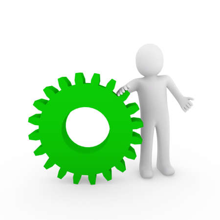 involved: 3d human gear green white business isolated background Stock Photo
