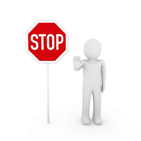 3d human stop red sign white symbol shield Stock Photo - 8623285