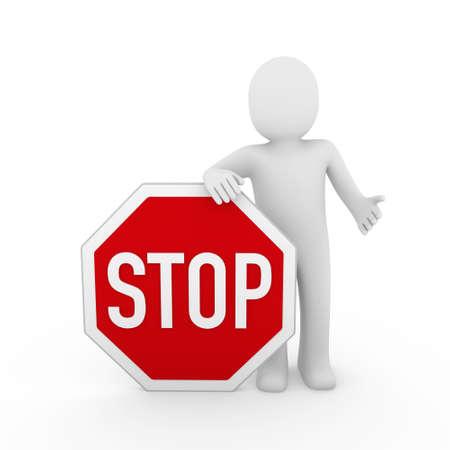3d human stop red sign white warning symbol photo