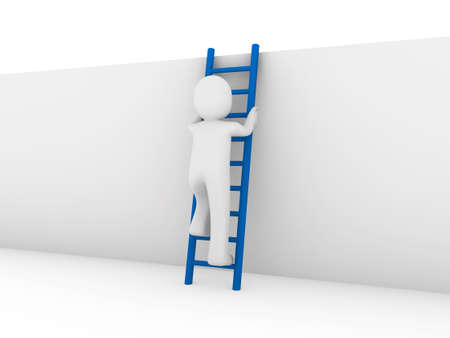 ambitions: 3d human ladder wall success business up blue