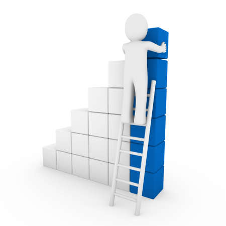 3d human cube ladder blue white success business isolated photo