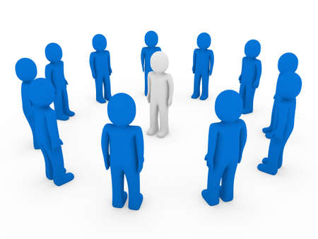 3d human: equipo de grupo de negocios blanco de 3D humana c�rculo azul Foto de archivo