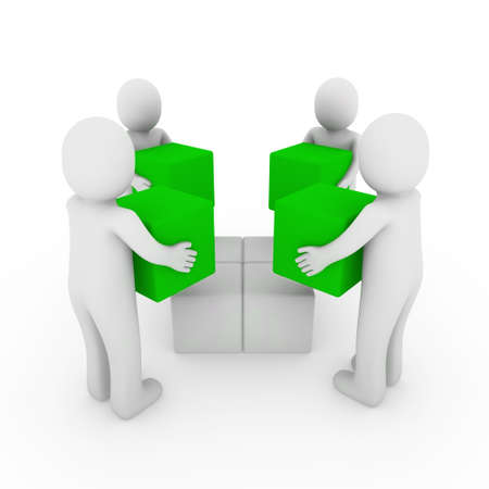 3d people cube box team green white business photo