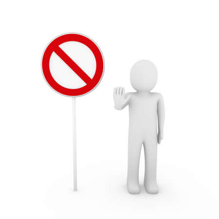3d human stop red sign white warning symbol Stock Photo - 8659041
