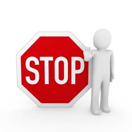 restrict: 3d human stop red sign white warning symbol
