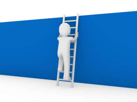 3d human ladder wall success business up blue photo