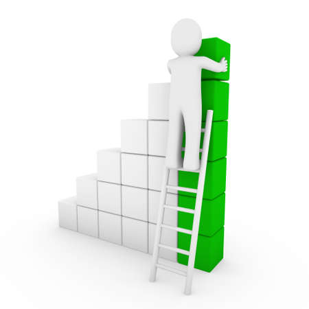 3d human cube ladder green white success business isolated photo