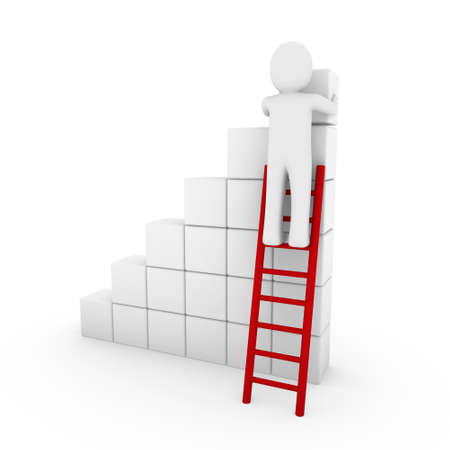 3d human cube ladder red white success business isolated photo