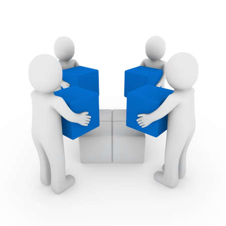 3d people cube box team blue white business photo