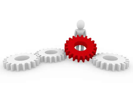 rueda dentada: Fondo de rojo negocios blanco aislado de engranaje humano 3D