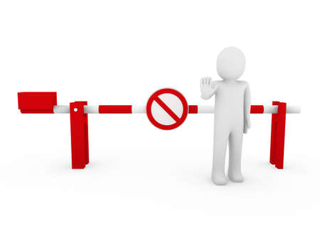 3d human stop barrier red ban warning people white photo