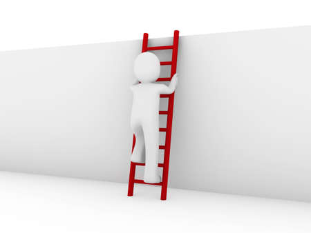 clamber: 3d human ladder wall success business up red Stock Photo