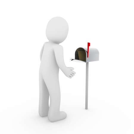 man carrying box: 3d, human, letter, mail, mailbox, email, post, business