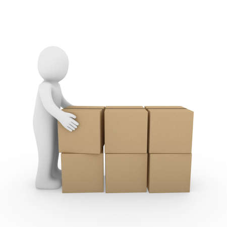 3d, human, package, carton, box, send, shipping, brown photo