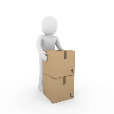 3d, human, carton, package, box, shipping, container, brown photo