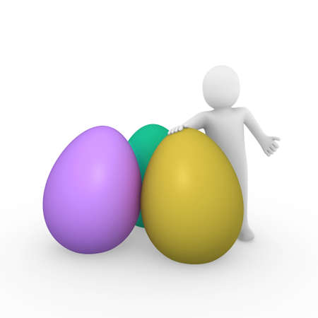 3d, human, easter, egg, yellow, purple, green, holiday Stock Photo - 8785513