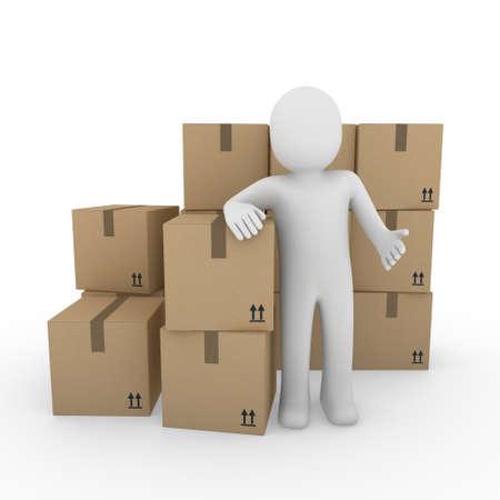 3d human: 3D, humano, transporte mar�timo, transporte, contenedores, cuadro, paquete, hombre