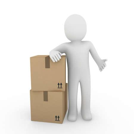 anonyme: 3D, humaine, exp�dier, transporter, conteneur, box, paquet, man