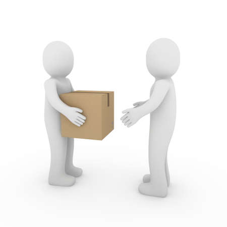 package shipment: 3d, human, shipping, transport, container, box, package, man
