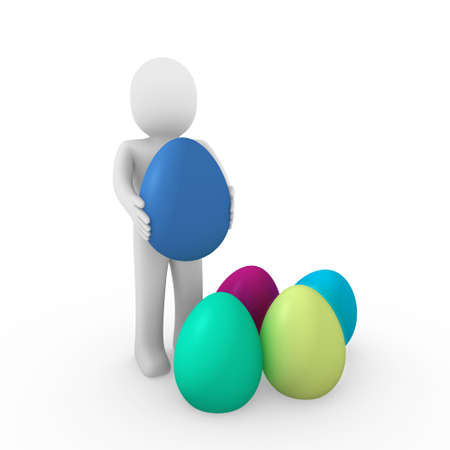 3d, human, easter, egg, green, blue, yellow, pink photo