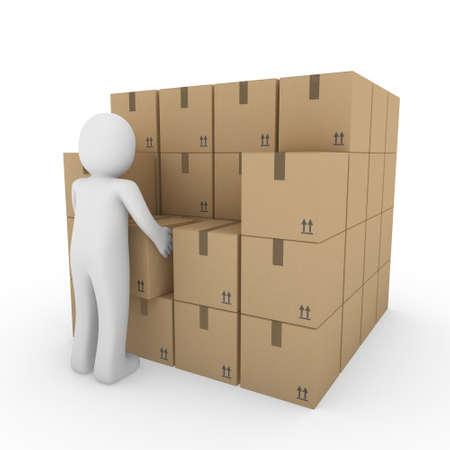 3D, humaine, expédier, transporter, conteneur, box, paquet, man